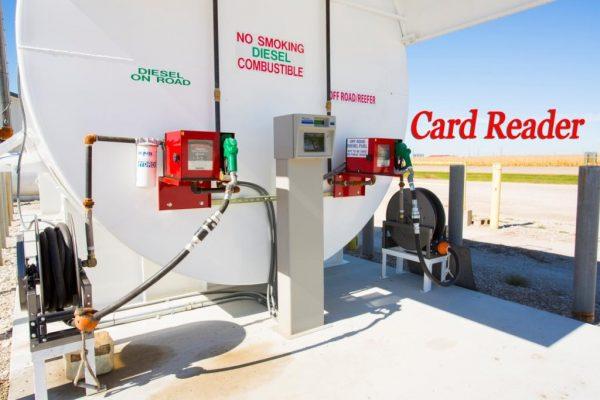 Card readers on a Diesel fuel storage tank
